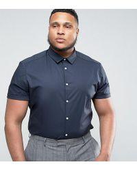 ASOS - Plus Slim Shirt In Navy - Lyst