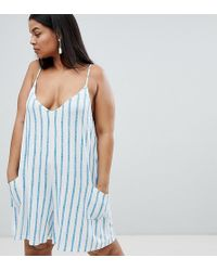 ASOS - Asos Design Curve Jersey Minimal Playsuit With Pockets In Stripe - Lyst