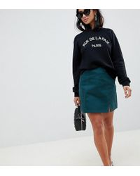 ASOS - Asos Design Petite Denim Split Front Mini In Emerald Green - Lyst