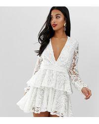 66216d29e5f John Zack - Allover Lace Plunge Front Skater Dress In White - Lyst