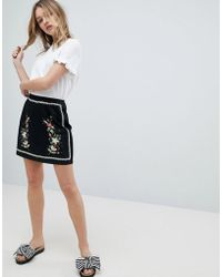 New Look   Floral Embroidered Mini Skirt   Lyst