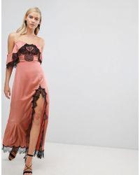 ASOS - Asos Lace Panelled Cold Shoulder Maxi Dress - Lyst