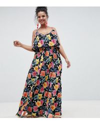 ASOS - Asos Design Curve Mixed Spot Floral Double Layer Maxi With Pom Pom Trim - Lyst
