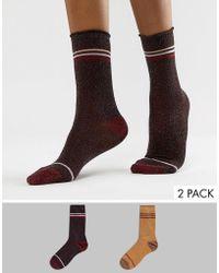 Vero Moda - Glitter 2 Pack Socks - Lyst