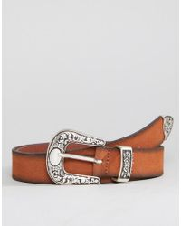 ASOS - Slim Leather Western Belt In Tan Suede And Burnished Edges - Lyst