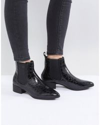 Monki - Croc Pointed Chelsea Ankle Boot - Lyst