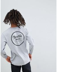 Brixton - Wheeler Long Sleeve T-shirt With Back Print In Grey - Lyst