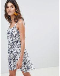 Warehouse - Beach Dress With Cami Straps In Fern Print - Lyst