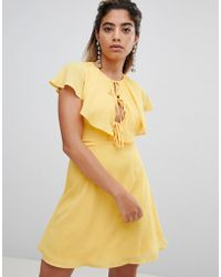 Fashion Union - Tea Dress With Tie Cape Detail - Lyst