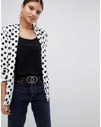 Missguided - Polka Dot Gathered Sleeve Blazer - Lyst