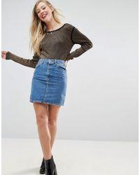 ASOS - Denim Original High Waisted Skirt In Midwash Blue - Lyst