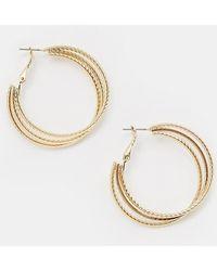 Missguided - Triple Layer Hoop Earrings In Gold - Lyst