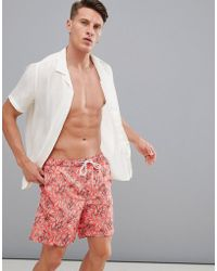 SELECTED - Printed Swim Shorts - Lyst