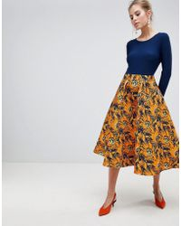 Traffic People - Midi Dress With Contrast Printed Skirt - Lyst