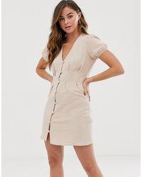 New Look Button Through Tea Dress In Stone - Red