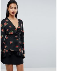 Fashion Union - Wrap Blouse In Floral Print - Lyst