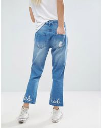 Daisy Street - Cropped Distressed Jeans With Girls Rock Embroidery - Lyst