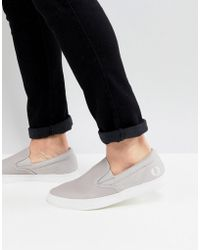 Fred Perry - Underspin Slip On Leather Trainers In Grey - Lyst