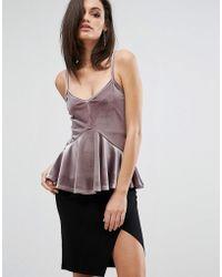 Club L | Cami Strap Top With Soft Peplum | Lyst