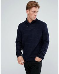 Bellfield - Textured Shawl Collar Jumper - Lyst