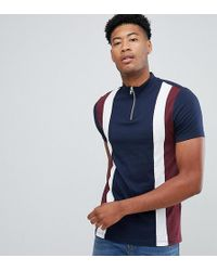 ASOS - Tall T-shirt With Turtle Neck And Vertical Cut And Sew Panels In Navy - Lyst