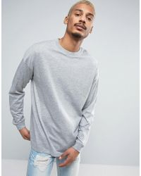 ASOS - Oversized Long Sleeve T-shirt With Cuff In Gray Marl - Lyst