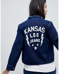 Lee Jeans - Collarless Denim Jacket With Embroidered Detail - Lyst