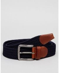 Esprit - Woven Belt With Leather Detail - Lyst