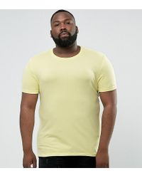 ASOS - Plus Muscle Fit T-shirt With Crew Neck In Yellow - Lyst