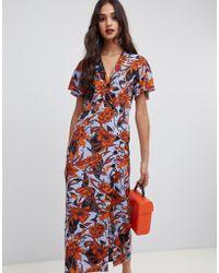 Miss Selfridge - Wrap Midi Dress With Button Through In Floral Print - Lyst