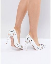Dune - Summer Leather Embellished Floral Pointed Heeled Court Shoes - Lyst