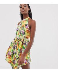 e02a8c84d161 ASOS - Asos Design Tall High Neck Hanky Hem Beach Dress In Yellow Tropical  Print -