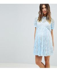 ASOS - Asos Design Maternity Lace Swing Dress With Collar - Lyst