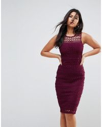 AX Paris - Crochet Lace Midi Dress With Scuba Back - Lyst