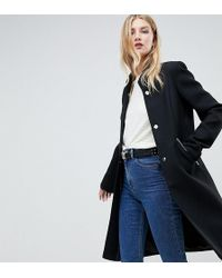 ASOS - Asos Design Tall Smart Funnel Neck Coat With Contrast Trim - Lyst