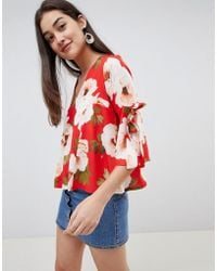 Girls On Film - Floral Tie Sleeve Blouse - Lyst