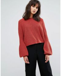 Weekday - Crop Knit Jumper With Baloon Sleeve - Lyst