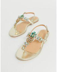 Lipsy - Pineapple Jewel Flat Sandal - Lyst