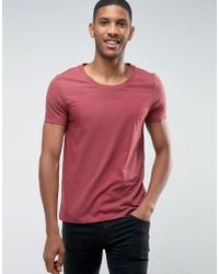 ASOS - T-shirt With Scoop Neck In Red - Lyst