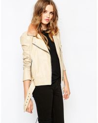 Hide - Rita Side Zip Biker Jacket With Shearling Collar And Chunky Belt - Lyst