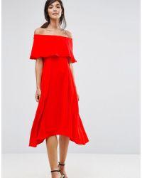 Coast - Brooke Bandeau Frill Midi Dress - Lyst