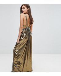 TFNC London - V Neck Maxi Dress With Pleated Back Panels - Lyst
