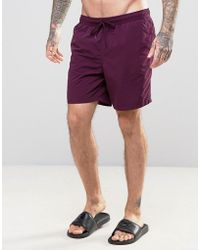 ASOS - Swim Shorts In Purple Mid Length - Lyst