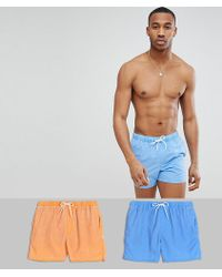 ASOS - Swim Shorts 2 Pack In Blue & Orange Acid Wash In Short Length Save - Lyst