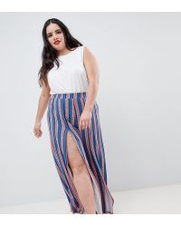 ASOS - Asos Design Curve Wide Leg Trousers With Split Front In Geo- Stripe Print - Lyst