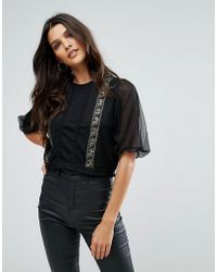 Zibi London - Long Sleeve Top With Lace Inserts - Lyst