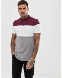ASOS - Polo Shirt With Colour Block In Interest Fabric - Lyst