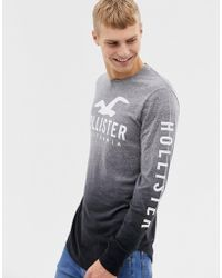 Hollister - Chest And Sleeve Logo Dip Dye Long Sleeve Top In Grey Marl To Black - Lyst