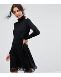 9ca8a421 ASOS Skater Dress with Velvet and Mesh in Black - Lyst