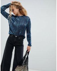 Weekday - Sequin Long Sleeve Top In Petrol Blue - Lyst